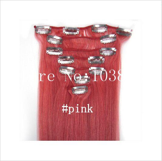 "Good 100g 18~24"" clip in human hair extensions Peruvian Hair Remy human hair set Straight"