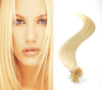 "Wholesale Curly Stick Tip Hair Extensions - 18""- 28"" Keratin U Tip Human Hair Extensions Straight 200 Strands #613 Lightest Blonde Opi Nails Stick Virgin Hair"