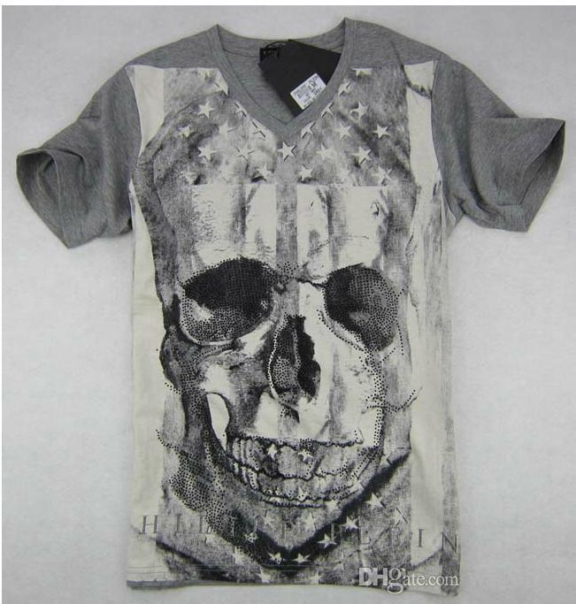 PHILIPP PLEIN Men Sport T-Shirt Skull Shoulder Printing Short Sleeve Tee M-3XL