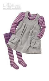 Wholesale Pantyhose Stripe Children - New Fashion children Girls baby stripe T-shirt + vest Skirt suit 2pcs set no pantyhose wholesale 2017