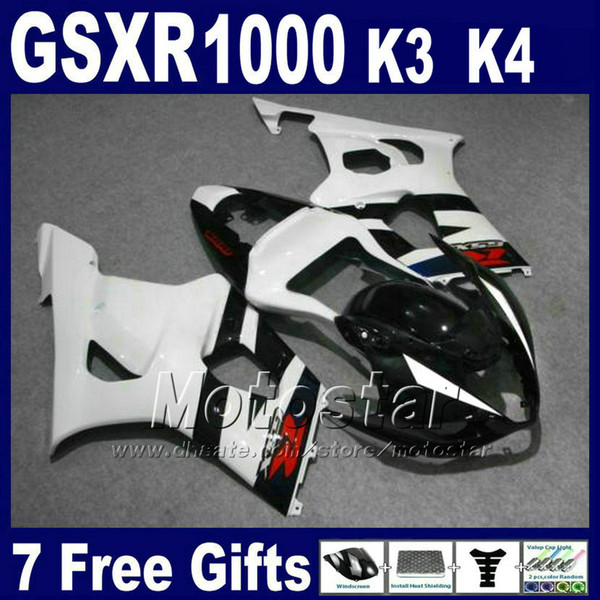 Custom motobike set for SUZUKI GSXR 1000 K3 2003 2004 white black fairing kit GSX-R1000 03 04 fairings bodywork GSXR1000 GH40 +7 gifts