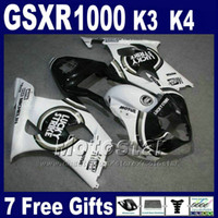 Wholesale Black Lucky Strike Fairing - High quality fairings set for 2003 2004 SUZUKI K3 GSXR 1000 white black LUCKY STRIKE GSXR1000 03 GSX-R1000 04 fairing kit GH38 +7 gifts