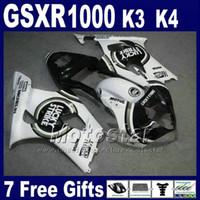 k3 gsxr verkleidungen großhandel-Hochwertige Verkleidungen für 2003 2004 SUZUKI K3 GSXR 1000 weiß schwarz LUCKY STRIKE GSXR1000 03 GSX-R1000 04 Verkleidungssatz GH38