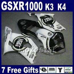 Wholesale Black Strike - High quality fairings set for 2003 2004 SUZUKI K3 GSXR 1000 white black LUCKY STRIKE GSXR1000 03 GSX-R1000 04 fairing kit GH38 +7 gifts