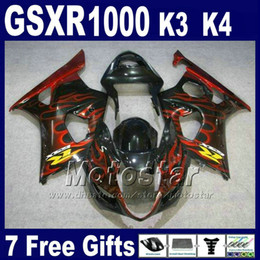 Fibbie rosse nere di gsxr online-Full fairing kit for SUZUKI GSXR 1000 K3 2003 2004 GSX-R1000 red flames in black high grade fairings set GSXR1000 03 04 GH42