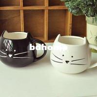 Wholesale White Porcelain Tea Cups - Free shipping Cute black and white cat animal ceramic coffee tea cup creative water glass ceramic couples mug