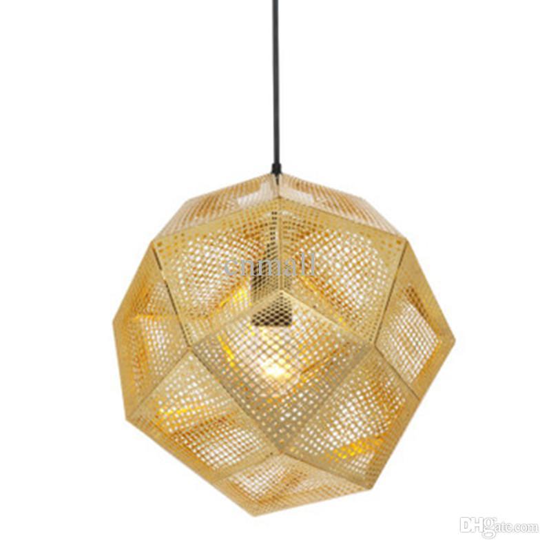 Grosshandel Tom Dixon Etch Light Pendelleuchte Moderne Kronleuchter Deckenlampe Messing Gold Silber Kugellampe 22cm 32cm 47cm Pendent
