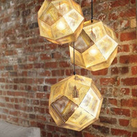 Wholesale dixon ball - Tom Dixon Pendent Lamp Pendent Light Etch Shade Pendant Lamp Modern Brass Pendant Lights Gold Silver Ball Lamp 22cm 32cm 47cm Pendent Light