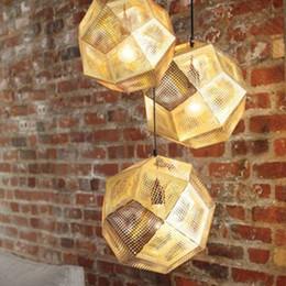 Wholesale Brass Ball Pendant - Tom Dixon Pendent Lamp Pendent Light Etch Shade Pendant Lamp Modern Brass Pendant Lights Gold Silver Ball Lamp 22cm 32cm 47cm Pendent Light
