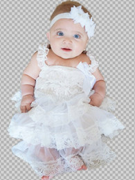 Wholesale Western Dresses For Baby Girls - Embellished White Chiffon Tier Lace Dress with Straps and Bow Birthday Outfit for Baby Girls Western Girls Outfit