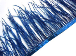 Wholesale Blue Feather Trim NZ - Free Shipping 10 yards lot Navy Blue ostrich feather trimming fringe feather trimming on Satin Header 5-6inch in width