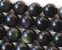 """Discount Wholesale Natural Genuine Flash Rainbow Obsidian Round Loose Stone Beads 3-18mm Fit Jewelry DIY Necklaces or Bracelets 16"""" 02666"""
