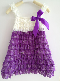 Wholesale Tutu Dresses China Kids - Wholesale China Factory Kids Clothing Vintage Purple Lace Dress Petti Baby Photo Graphy Rustic Girls dresses