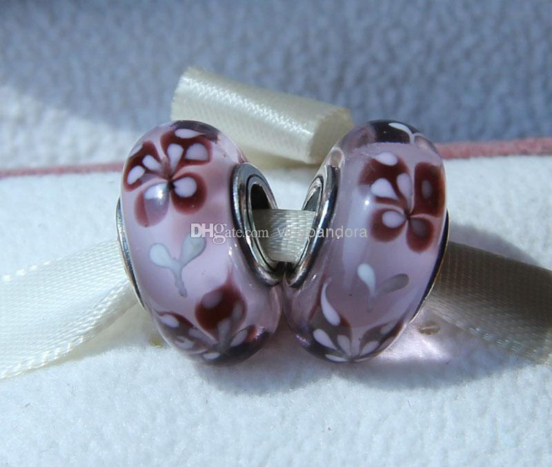 925 Sterling Silver Threaded Screw Pink Butterfly Kisses Murano Glass Beads Fit European Pandora Jewelry Charm Bracelets & Necklace