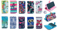 Wholesale Iphone 4s Cute Wallet - Eiffel Tower Keep Calm Night Bird Owl Wallet Leather Case For iphone 5 5G 5S 4 4G 4S 5C Tribal Cute Carton Credit Card With Stand