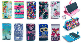 Wholesale Tribal Wallet Iphone Cases - Eiffel Tower Keep Calm Night Bird Owl Wallet Leather Case For iphone 5 5G 5S 4 4G 4S 5C Tribal Cute Carton Credit Card With Stand