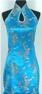 Shanghai Story Keyhole Long Cheongsam Chinese Women's Satin Long Qipao Halter Cheong-sam Backless Costume Dress 5 Color