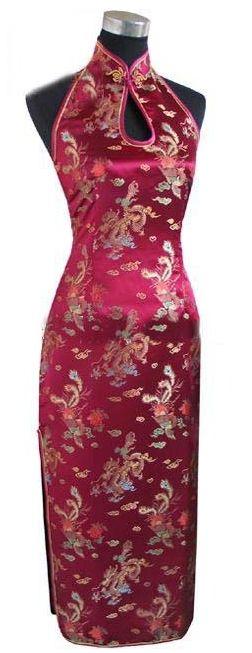 Shanghai Story Keyhole Long Cheongsam Chinese Women's Satin Long Qipao Halter Cheong-sam Backless Costume Dress
