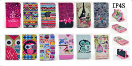 Wholesale 4s Eiffel - Tribal Eiffel Tower Keep Calm Night Bird Owl Wallet Leather Case For iphone 5 5G 5S 4 4G 4S 5C Cute Carton Credit Card With Stand mix order