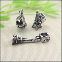 Wholesale Eiffel Tower Jewelry Bracelet - 50PCS LOT Antique Silver Tone Dangle Eiffel Tower Big Hole Charm European Beads for making Bracelet jewelry findings