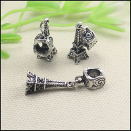 Wholesale Tone Eiffel - 50PCS LOT Antique Silver Tone Dangle Eiffel Tower Big Hole Charm European Beads for making Bracelet jewelry findings