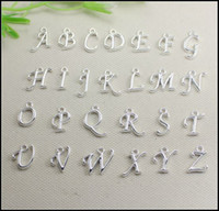Wholesale Metal Letters Numbers - 260pcs silver plated Metal Alphabet Letter   A-Z Letters Pendants European beads fit Bracelet   Necklaces jewelry findings