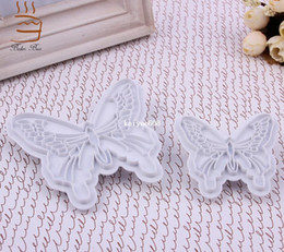 Wholesale Decorated Butterflies - Cake Baking DIY Tools 2pcs Set Fondant Butterfly Mold Cake Cutter Cookies Sugarcraft Decorating Tool YM-07