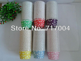 Wholesale Polka Dot Cupcakes Muffin Cases - 180pcs lot 6 mixed color polka dot mini paper cake cup ,cupcake bake cup,muffin cases muffin holder 3.8*3cm wholesale