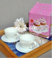 Wholesale Silicon Bake Cake Cup - 8PCS Bake & Serve Cupcake Set Silicon Bake Cup Cake Muffin Mold Tea Cups & Saucers