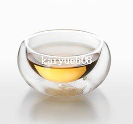 Wholesale Double Wall Heat Resistant Glasses - HOT SALE!!! 6pcs double layers 50ml glass drinking cup, exquisite handcrafted double-wall heat resistant tea cup