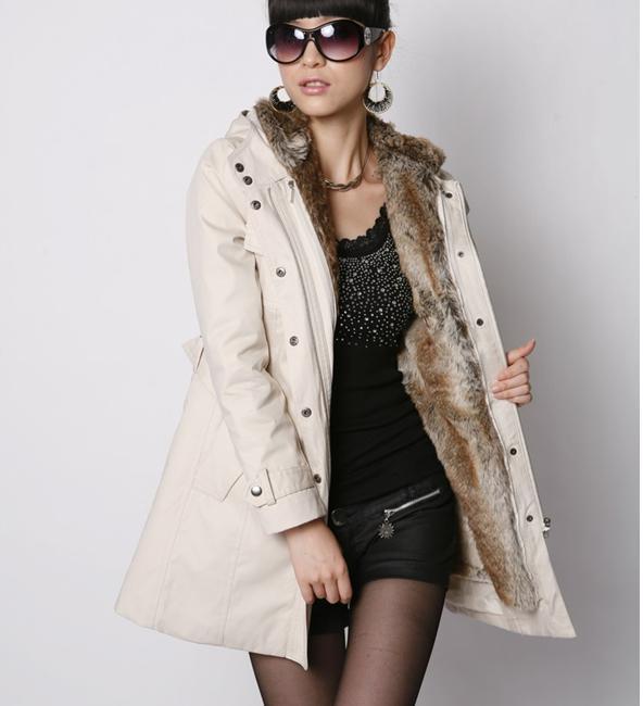 fad877da719 Hot! Faux Fur Lining Women&39s Fur Hoodies Ladies Coats Winter Warm
