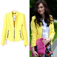 yellow blazer fashion achat en gros de-Jumpsuits Livraison gratuite 2014 Spring New Style Fashion Women Blazer Yellow Collarless Long Sleeve Zipper Suit