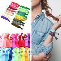 saç kafa bandı aksesuarları şerit toptan satış-100 Adet / grup (20 Renk Seçeneği) Yeni Düğümlü Şerit Saç Kravat At Kuyruğu Sahipleri Sıkı Elastik Headbands Çocuklar / Kadın Saç Aksesuarı