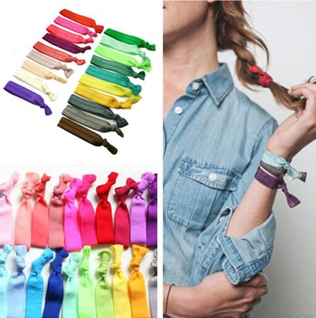 100 Pcs/lot (20 Colors Option) New Knotted Ribbon Hair Tie Ponytail Holders Stretchy Elastic Headbands Kids/Women Hair Accessory