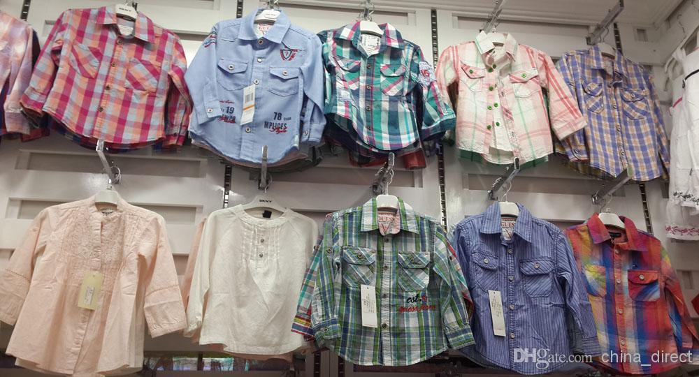 Muchachas del muchacho de la manga larga camisa de las camisas de vestir de la camisa de cottoNTops MIXED / # 3483