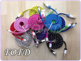 $enCountryForm.capitalKeyWord Canada - Sync Data Transfer and Charging Line Colorful Braid Woven Fabric Wire USB Charger Noodle Flat Micro USB Charge Cable DHL free 50pcs