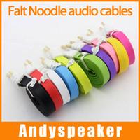 câble de rallonge plat pour nouilles achat en gros de-3.5mm AUX Flat Noodle câbles audio mâle à mâle 1m 3ft Stéréo Car Extension audio câbles audio pour MP3 pour téléphone coloré
