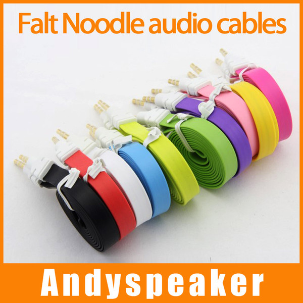 best selling 3.5mm AUX Flat Noodle audio cables male to male 1m 3ft Stereo Car Extension audio Cable Cords for MP3 for phone colorful