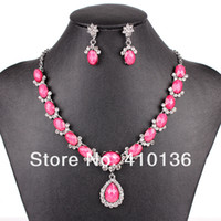 Wholesale PN12535 Fashion Jewelry Sets Wedding Jewelry Sets Silver Plated Pink Resin Clear Crystal Party Gift