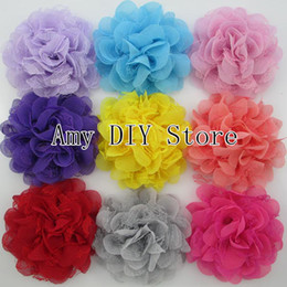 Wholesale Tulle Flowers For Headbands - shabby Chiffon Flower Tulle Lace Layered Flowers WITH cilp, baby girls new style hair accessorise flowers for headband 60pcs lot HH045+5.5cm