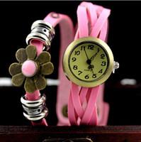 Wholesale Petal Watch - 2014 SunFlower petals Pendant luxury watch Vintage Quartz Roman numerals ladies wristWatches +9 color free choice best2011