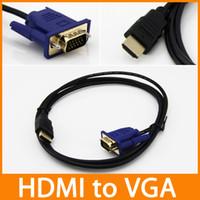cable de video vga al por mayor-Cable HDMI a adaptador convertidor VGA macho 1.8M = 6 pies D-SUB 15 pines Cable AV Adaptador de video para HDTV cable de conexión 100pcs