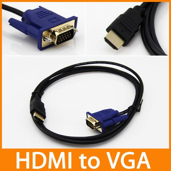 Cavo HDMI per convertitore VGA adattatore maschio 1.8M = 6ft D-SUB 15 pin Cavo adattatore video AV per HDTV set-top cavo 100pcs