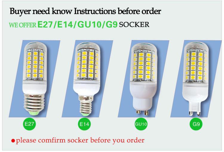 Cheap 5050 SMD 69 LEDs Corn Bulb E27 E26 E14 GU10 G9 chandelier Candle LED Light 15W With Cover 360 degree Maize Lamp Cool Warm White