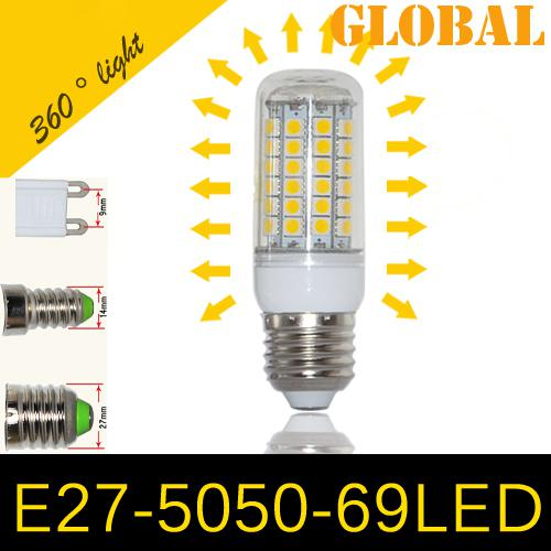 top popular Cheap 5050 SMD 69 LEDs Corn Bulb E27 E26 E14 GU10 G9 chandelier Candle LED Light 15W With Cover 360 degree Maize Lamp Cool Warm White 2019