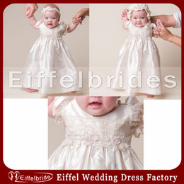Wholesale 65cm Hair - Gorgeous Beaded Christening Gown 2014 Including Lovely Hair Band and Hat with Beautiful Embroidery Ivory Taffeta First Communion Dresses