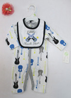 Wholesale Cotton Pjs Wholesale - 2 pcs set baby Infant cotton Romper bibs Bodysuits pjs outfit mixed 24pcs lot #3493