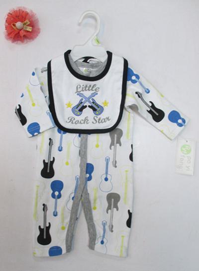 2 pcs set baby Infant cotton Romper bibs Bodysuits pjs outfit mixed 24pcs/lot #3493