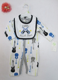 Wholesale Cotton Pjs Wholesale - 2 pcs set baby Infant cotton Romper bibs Bodysuits pjs outfit mixed 24pcs lot #3493