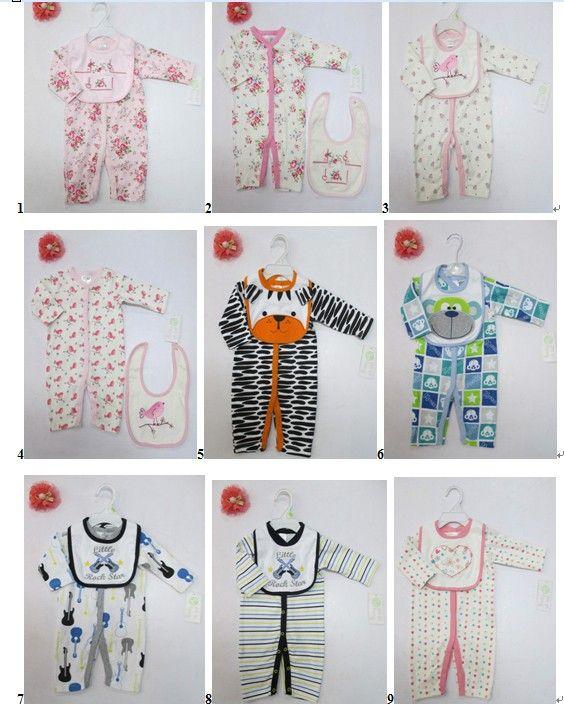 set baby Infant cotton Romper bibs Bodysuits pjs outfit mixed #3493